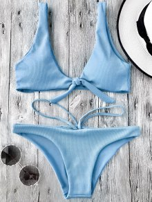 Knotted Textured Scoop Bikini Set - Light Blue M