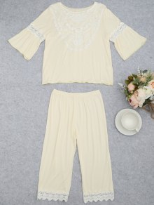 Loungewear Lace Crochet Panel Top With Capri Pants - Palomino M