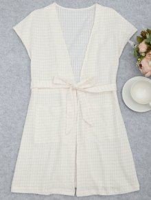 Belted Striped Kimono Loungewear - White Xl