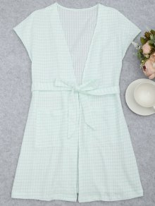 Belted Striped Kimono Loungewear - White And Green L