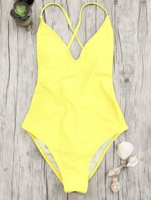 V Neck High Cut One Piece Swimsuit - Yellow M