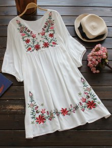 Floral Embroidered V Neck Peasant Dress - White