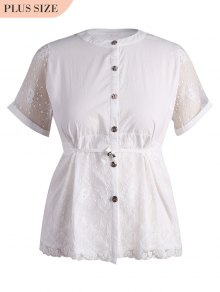 Plus Size Lace Panel Button Up Blouse - White Xl
