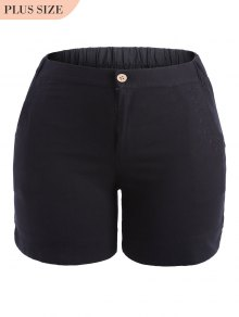 Plus Size High Waisted Embroidered Shorts - Black 2xl