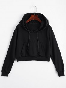 Front Pocket Drawstring Crop Hoodie - Black S