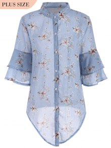 Flare Sleeve Floral Plus Size Blouse - Blue Xl