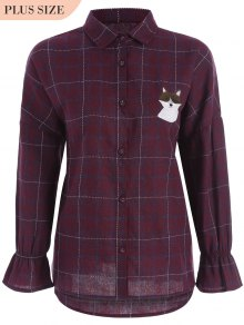 Checked Doggy Patched Plus Size Shirt - Red 2xl