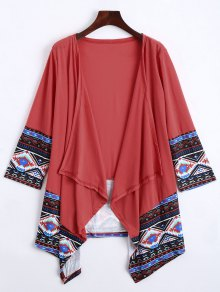 Open Front Geometric Print Cardigan - Watermelon Red S