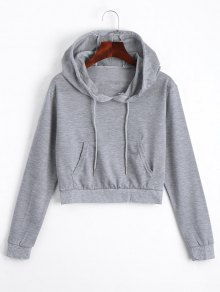 Front Pocket Drawstring Crop Hoodie - Gray S