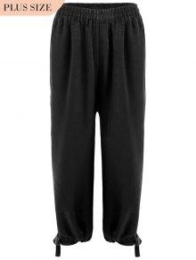 Bow Tie Plus Size Harem Pants - Black 3xl