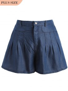 High Waisted Casual Plus Size Shorts - Blue 5xl