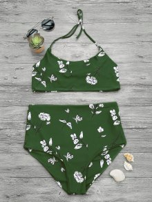 Slimming Control High Waisted Bralette Bikini Set - Green M