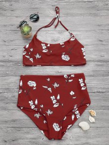 Slimming Control High Waisted Bralette Bikini Set - Red M