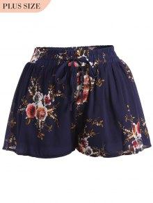 Plus Size Lined Floral Shorts - Floral Xl