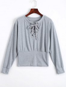 Lace Up Long Sleeve Knitted Tee - Gray Xl