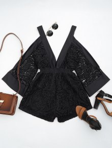 Plunging Neck Cold Shoulder Hollow Out Romper - Black S