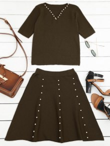 Buy Knitted Beading Top Line Mini Skirt - COFFEE ONE SIZE