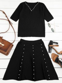 Buy Knitted Beading Top Line Mini Skirt - BLACK ONE SIZE