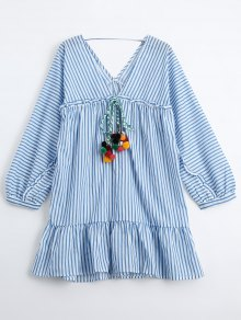 Ruffles Striped Tunic Dress With Fuzzy Balls - Stripe S