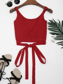 Knitted Wrap Crop Tank Top - Red S