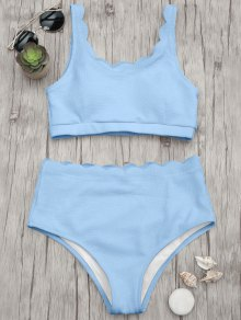 Scalloped High Waisted Bralette Bikini Set - Light Blue L