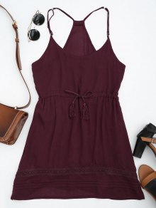 Spaghetti Straps Drawstring Waist Summer Dress - Wine Red S
