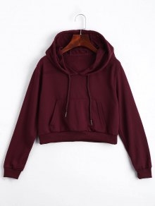 Front Pocket Drawstring Crop Hoodie - Deep Red S