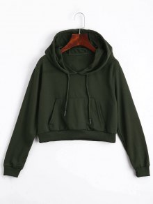 Front Pocket Drawstring Crop Hoodie - Army Green M