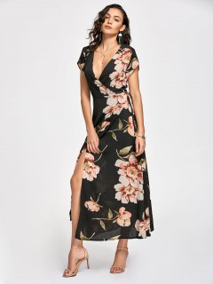 Floral Print Maxi Wrap Dress - Black L