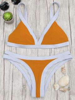 Two Tone Padded Swimsuit - Orange S