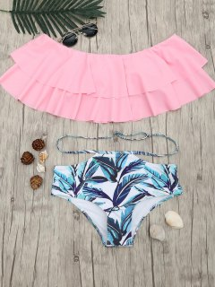 Layered Flounce Off The Shoulder Bikini Set - Pink L