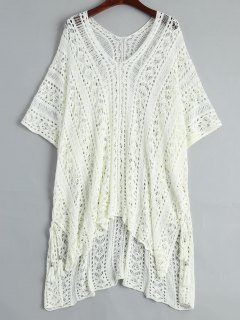 Open Knit Beach Poncho Cover Up Dress - White