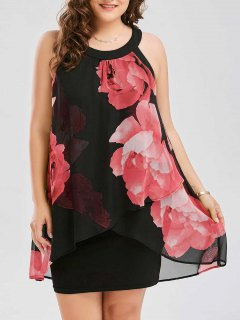 Plus Size Floral Print Overlay Sheath Dress - Red Xl