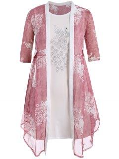 Robe Bodycon Plus Size Avec Kimono Peacock - Rose PÂle 4xl