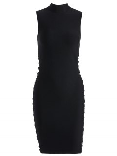 High Neck Criss Cross Bandage Dress - Black M