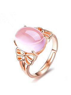 Faux Crystal Gem Dragonfly Oval Ring - Rose Gold