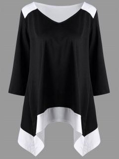 Plus Size Asymmetrical Two Tone Top - Black White Xl