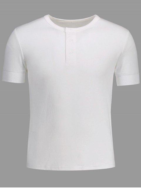 latest Crewneck Short Sleeve Henley Mens Top - WHITE M Mobile
