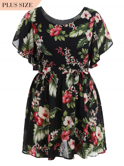 women Plus Size Belted Floral Mini Dress - FLORAL 5XL Mobile