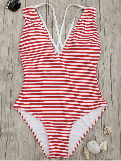 fancy Cross Back Striped One Piece Swimsuit - RED STRIPES XL Mobile