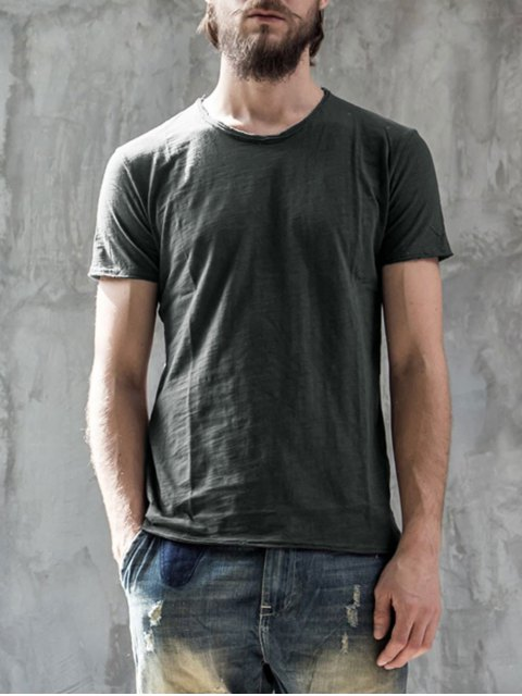 fancy Round Neck Raw Edge Mens Basic Tee - DEEP GRAY XL Mobile