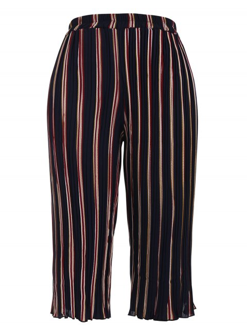 outfits Plus Size Pleated Striped Capri Gaucho Pants - STRIPE XL Mobile