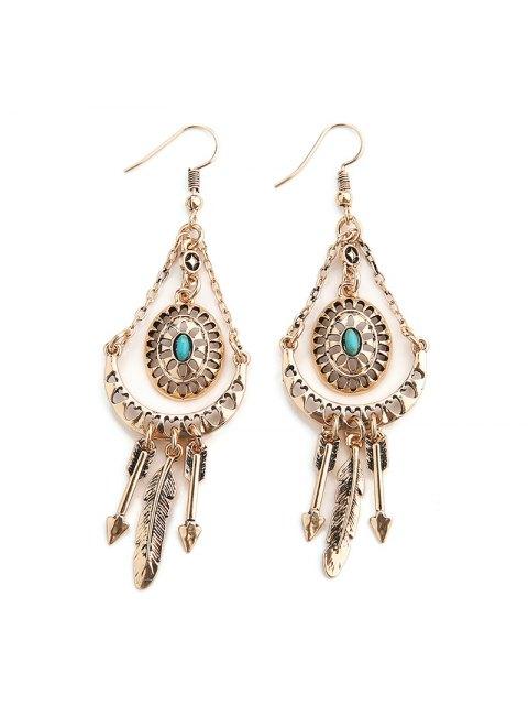 women Faux Turquoise Arrow Feather Hook Earrings - GOLDEN  Mobile