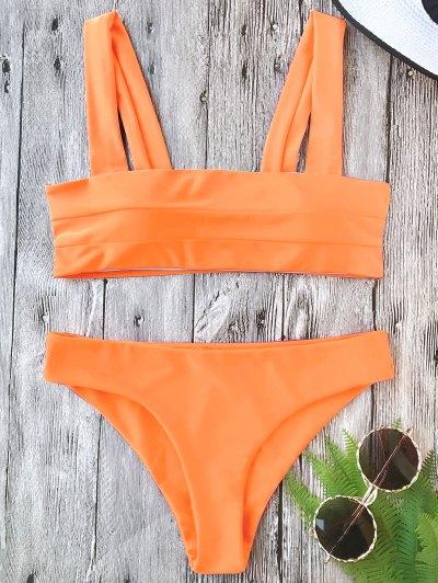 Conjunto Acolchado De Bikini Con Bandas Anchas - Neu00f3n Naranja M