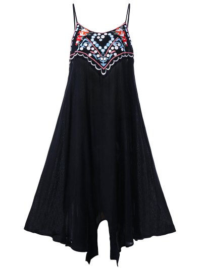 Plus Size Embroidery Slip Summer Dress - Black Xl