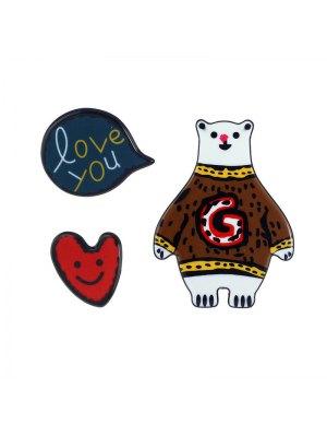 Heart Love You Bear Brooch Set