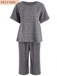 Plus Size Checked Top And Capri Straigt Pant Suit - Gray 3xl