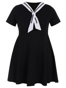 Plus Size Tied Skater Sailor Dress - Black 3xl