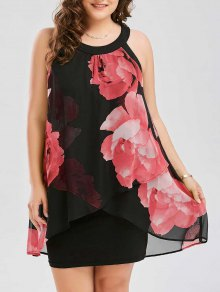 Plus Size Floral Print Overlay Sheath Dress - Red 5xl
