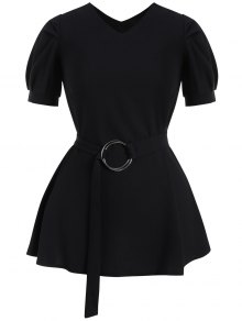 Puff Sleeve Plus Size Belted Dress - Black 2xl